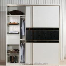 White Sliding Bedroom Closet Wood Wardrobe