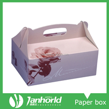 party paper cake box with handle, paper cardboard bakery boxes Bread paper box