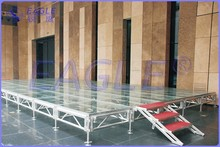 Tri-height transparent adjustable and movable acrylic stage