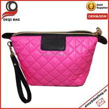 Pink Quilted Make Up Cosmetic Bag Wristlet