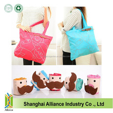 Fashion Beared Foldable Shopping Bag,Collapsible Market Tote Bag