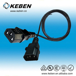 Low price high quality male to feamle ac power cord with VDE approved standard iec c13-c14 male to female ac power cord