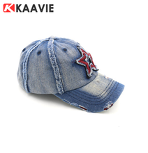 custom Five-pointed star embroidered wash denim baseball cap with metal buckle