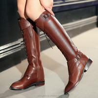 JUSITY 2015 New style fashion lace-up woman knee high gladiator boots