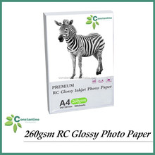 260gsm Resin coated RC photo paper Glossy inkjet printer paper