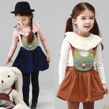 De los niños 2014 la cabeza del gato de hoja de loto cuello t y falda chaleco con el hombro- correas de vestidos para niñas
