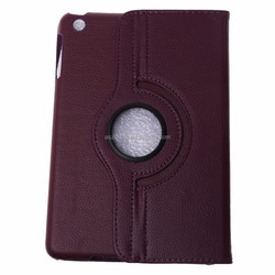 2015 Newest 360 Rotating Flip Leather Smart Carry Case Cover for iPad Mini (Purple)