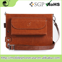 Carrying Leather case tablet bag with shoulder strap zipperfor ipad air 2