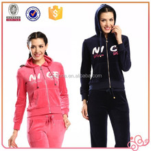 new latest design sports china cheap branded fashion velour tracksuits for lady