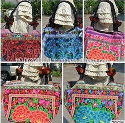 Hmong Tribal Ethnic Thai Vintage rose Embroidered tote Bag Handbag Thailand