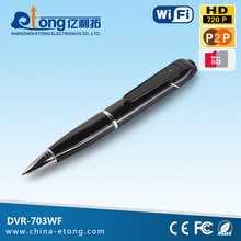 AP function wifi IP camera with battery and TF card pen camera