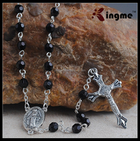 Black 6mm Plastic Beads Mens Rosary with Miraculous Center Piece, Catholic Religious Necklace for Men