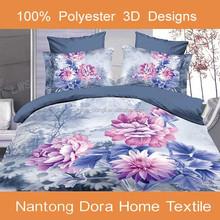 3d home textile printed bed sheet 3d colorful flower microfiber bedding set