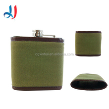 Superior Quality Small Stainless Steel Bottle Holder Canvas Wine Bottle Cover With Leather Around