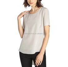 CHEFON Hi-low hem ladies white short sleeve blouses for office