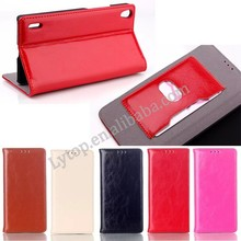 New Promotion Flip Wallet ID Card PU Crazy Horse Leather Case For HUAWEI P7 OEM Acceptable