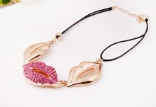2015 Hot Sell Sex Lips Necklaces in China Wholesale High End Fancy Fashion Jewelry Necklace Professional Manufacture