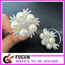 de moda de diamantes de imitación de la perla anillos de la servilleta de mesa para la decoración