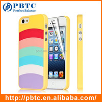 Set Screen Protector And Case For Iphone 5 , Hard Plastic Yellow Colorful Stripes Cute Cover Case