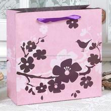 "Wholesale handmade pink"" Plum Blossm"" design paper hand bag"