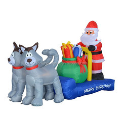 210cm/7ft inflatable two dogs pull a sled with a santa sit on it for Christmas decoration