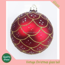 Red Wine Glass Charms Gold Glitter Xmas Tree Ball Ornament Decorations