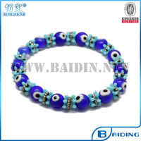2014 new fashion cheap blue handmade beads evil eye magnetic bracelet factory wholesale