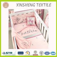 Pink Rabbit Embroidery bedding set/ Baby crib bedding set