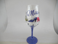 2016 new shanxi mouth blown Decorated Hand Painted lady theme hand painted drinking wine glass