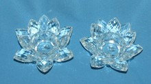 Pair of Shannon Crystal Lotus Tea Light Candle Holders MH-H00104