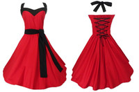 wholesale manufacturer mod clothing custom made vintage style fashion red evening dresses
