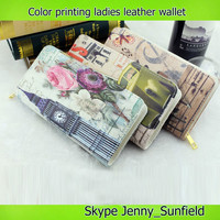 city symbol embossed bifold leather wallet lady wallet