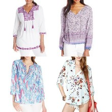 Custom design latest fashion women blouse tops quality Plus-Size Embroidered tunic blouse