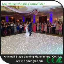 white and black led starlit dance floor with road case packing