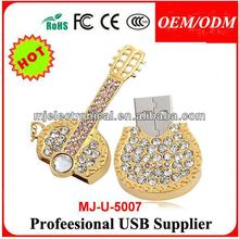 Jewelry Metal USB Stick In Guitar Shaped, Crystal Jewel Necklace Usb Flash Drive Wholesale
