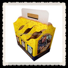Cardboard Paper Material Printed Two Pack, Four Pack, Eight Pack Beer Carrier and Beer Carton Box with Handle