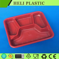 Disposable plastic microwave 4-compartment food container with red bottom