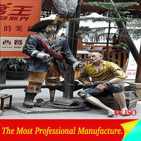 High Simulation Figure Statues Fiberglass Pirate Sculpture for Outdoor