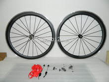 50mm carbon aluminium reinforced clincher wheelset with alloy spokes nipple skewers QR