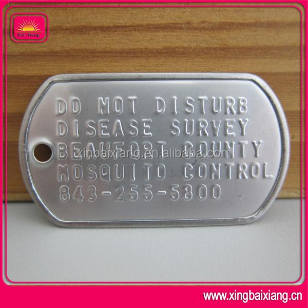 Número de série de alumínio militar homens de aço inoxidável tag de cão