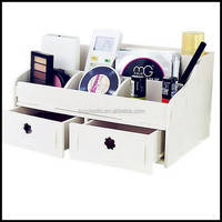 DIY Dressing Table Organizer Small Objects Cosmetics Storage Box With two drawer,custom plastic dressing box container factory