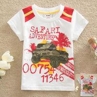 2-6Y (S87102#)Baby garment cotton boy tops safari summer t shirt O neck cotton tees