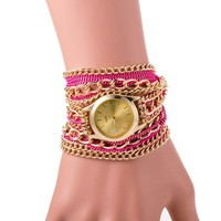 Hot Sale Cheap Hawaiian Style Rhinestone Women Bracelet Fashion Quartz Metal Chain Watches