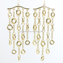 Fashion new design gold plated chian earring factory china