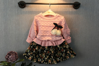 Latest Hot Selling Girls Dress With Montage Flowers Pullover Kids Dress With Skeleton Top Wholesale Children Clothing GD81108-72
