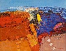 moderna pintura al óleo del paisaje