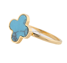 High Polished Gold Plated Stainless Steel Blue Lucky Ring for Women Cute Jewelry