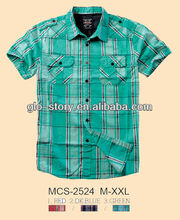 100% Cotton men Short sleeve shirts of yarn dyed check for newest 14SS