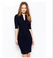 13124 FanShou 2014 Women Spring Summer Fashion Slim Fit Pure Color V-neck Half Sleeve Drape Dress
