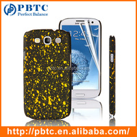 Set Screen Protector And Case For Samsung Galaxy S3 I9300 , Golden Paint Point Hard Plastic Phone Back Case